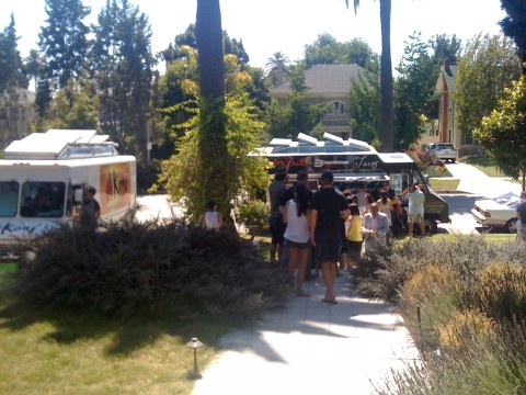 The warring trucks. Rufus is under one of the Koji truck. Eating no doubt.