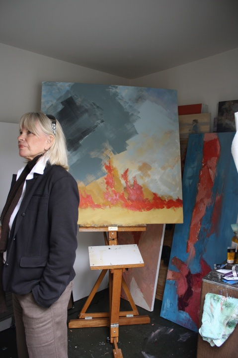 Phyllis sneaks into the painting studio.