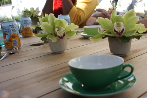 Andre bought these lovely porcelain tea cups in four shades of green at a store on Abbot Kinney.